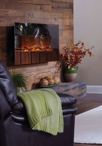Mirror Onyx 50-Inch Wall Mounted Electric Fireplace - Black