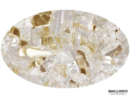 "Boone Hearth 10 LB Bag of 1/4"" Gold Rush Reflective Fire Glass"