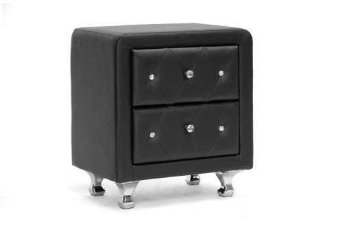 Wholesale Interior Stella Crystal Tufted Black Upholstered Modern Nightstand