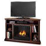 Churchill Corner Espresso Entertainment Unit and Gel Fuel Fireplace