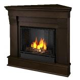 Chateau Corner Gel Fuel Dark Walnut Fireplace
