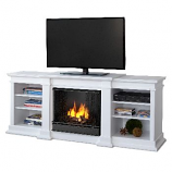 Fresno White Entertainment Unit and Gel Fuel Fireplace