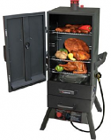 "34"" Gas Vertical Smoker with Two Drawers and Easy Temp Control"