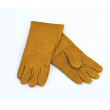 "1 Pair Of Woodfield Brown Leather Fireplace Gloves, 13.5""L"