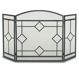 3 Panel Art Nouveau Screen-Black