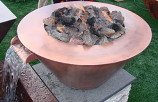 32 Inch Diameter Mesa Copper Bowl Fire Pit HPC Match Lit - LP Gas