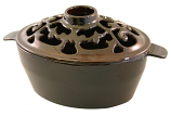 Small Filigree 2 Qt. Brown Majolica Steamer