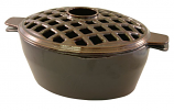 Small Lattice 2 Qt. Brown Majolica Steamer