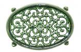 Green Majolica Small Oval Filigree Trivet