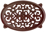 Brown Majolica Small Oval Filigree Trivet