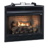 "Deluxe Direct Ignition 36"" Louver B-Vent Fireplace - Natural Gas"