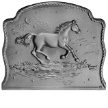 "21.5"" x 18"" Night Horse Fireback"