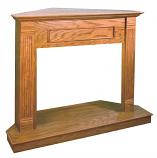 "Medium Oak Compact Traditional Corner Mantel- 32"""