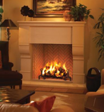 Rumford Wood Burning Fireplace with Ivory Herringbone Brick - 48""