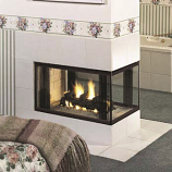 Three Sides Open Peninsula Smooth Face Fireplace - 36""