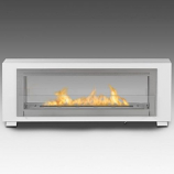 2 Sided Built in Fireplace - Gloss White and Stainless Steel