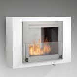 Wellington Wall Mounted Fireplace - Gloss White and Stainless Steel
