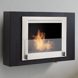 Wellington Wall Mounted Fireplace - Matte Black and Stainless Steel