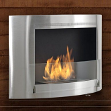 Olympia Wall Mounted Fireplace - Stainless Steel