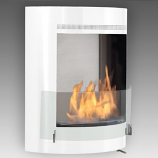 Olympia Wall Mounted Fireplace - Gloss White Interior Stainless