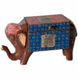 Carved Elephant Decorative Accent in Wood and Metal