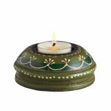6 Wooden Hand Painted T-lite Holder in Adoosa Wood - Green