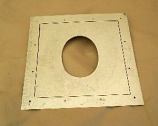 "5"" Sheet Metal Wall Plate for Putting Stovepipe Through Plywood Wall"