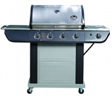 Bradley Smoker Stainless Steel BBQ Grill - 4 Burners, Cast Iron Grates