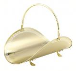 "19"" Polished Brass Filigree Woodbasket"