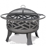 Black Wood Outdoor Firebowl With Geometric Design