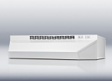 36 inch wide ductless range hood in white finish