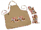 BBQ Apron with 2 Mitts & Patchwork Pockets - BBQ Food Theme