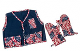Blue Flame BBQ Apron with 2 Mitts - American Flag Theme