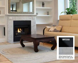 "32"" BRT B-Vent Elec. Fireplace w/White Brick Hearth & Black Paint-NG"