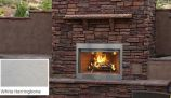"36"" Paneled Outdoor Wood Fireplace w/White Herringbone Brick Liner"