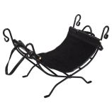 Black Suede Wrought Iron Log Holder - 17.5 inch
