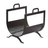 Black Rivet Design Wrought Iron Log Holder - 16 inch