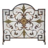 Antique Copper and Patina Arched Panel Screen - 33.5 inch
