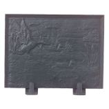 Black Cast Iron Duck Fireback - 22 x 24 inch