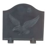 Black Cast Iron Eagle Fireback - 16 x 17.5 inch