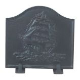 Black Cast Iron Ship Fireback - 16 x 17.5 inch