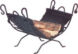 Black Wrought Iron Log Holder with Canvas Carrier - 17.5 inch