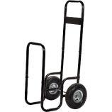 Black Steel Log Holder with Large Rubber Wheels - 42 inch