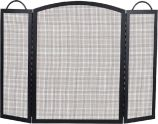 Black 3 Fold Center Wrought Iron Arched Panel Screen - 36 inch