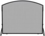 Single Panel Black Wrought Iron Arch Top Screen, Medium