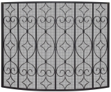 Single Panel Black Wrought Curved Ornate Screen
