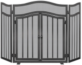 3 Panel Black Wrought Iron Screen With Doors