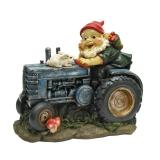Bunny on Board the Tractor Garden Gnome Statue