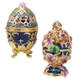 The Royal Garden Faberge Style Collectible Enameled Egg Set