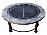 Round Slate Top Wood Burning Firepit - 40 inch